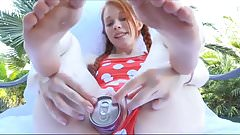 Petite Redhead Teen walking with cola can in her cunt, and playing around a pool