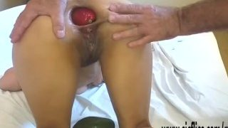Extreme anal fisting, vegetable insertion and bottle insertions for Maria
