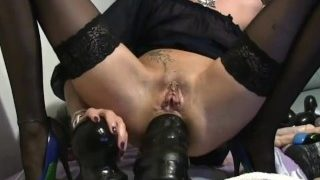 Pierced tattoed submissive punk impaled on Caterpillar dildo