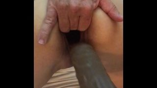 Large pussy gape after dildo play