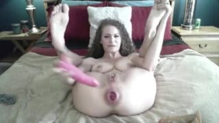 Amateur girl with seriously huge gaping asshole showing off on camera