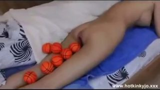 Epic video of Hotkinkyjo anal balls insertion.