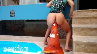 Maria Fucking Her Latin Ass With a Giant Road Cone