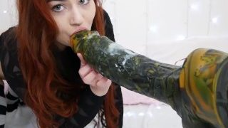 Lexa Lite Gets Pounded By Huge Lampwick dildo In Her Gaping Ass