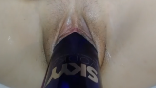 Husband-Fist-Wife Wrecking her pussy with a SKY bottle and big dildo.
